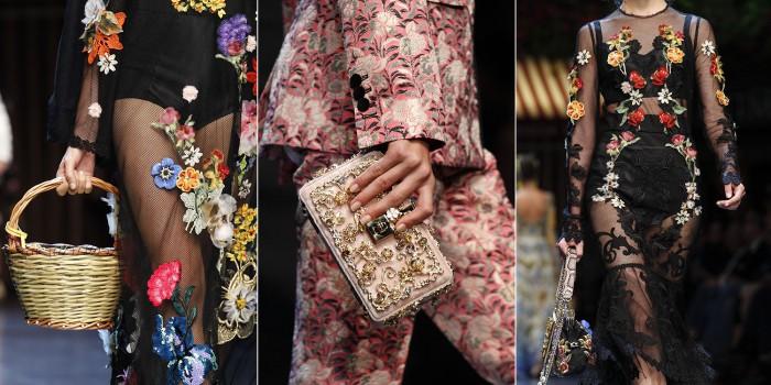 3 blommiga looker från Dolce & Gabbanas Ready-to-Wear, vår/sommarkollektion 2016.