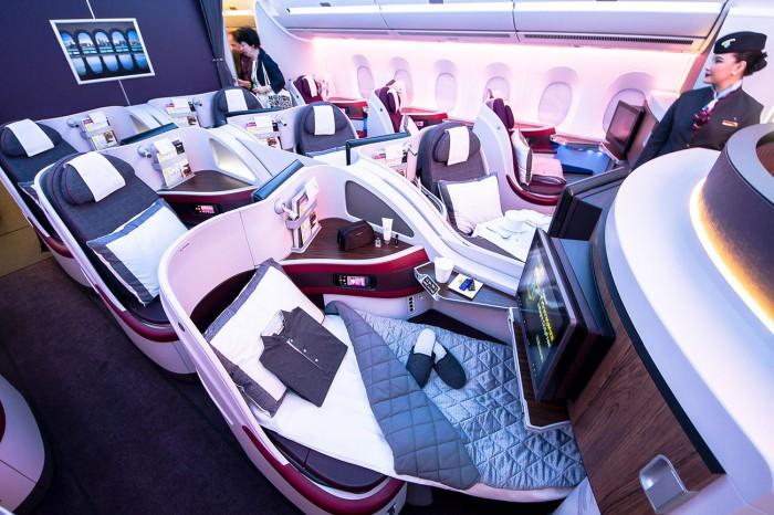 Business Class på Qatar Airways.